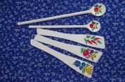 white painted wooden spoon £2.50